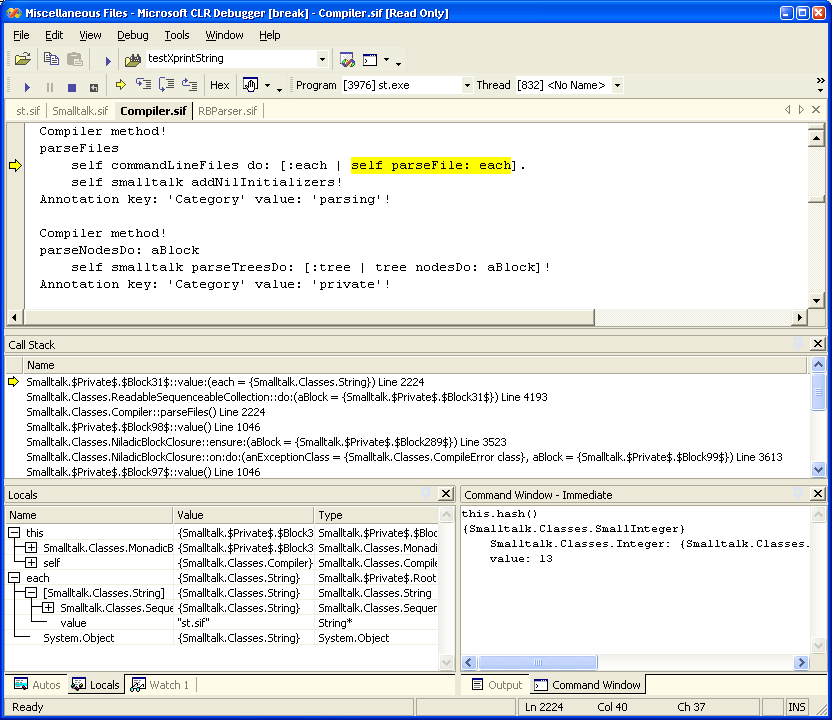 Screenshot of the DbgCLR program debugging the #Smalltalk compiler.